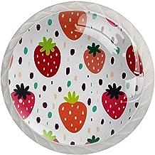 Lade knoppen ronde kristallen glazen kast handgrepen Pull 4 Pcs,Fruit Aardbei