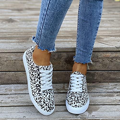 Hwcpadkj Zapatillas Lona Zapatos Individuales para Mujer Casual de Fondo Plano con...