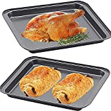 2 Pack 9.4 Inch Small Baking Sheet,Nonstick Cookie Baking Sheets Set,Baking Sheet Pan Set for Toaster Oven,Homemade Desserts,Bread,Steak,Pizza