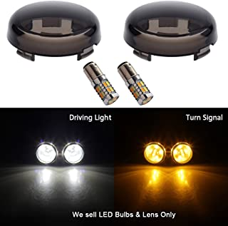 NTHREEAUTO Smoked Front LED Turn Signal Running 2 Inch Bullet LED Lights Lens Cover Compatible with Harley Dyna Softail Road Street Glide Fat Boy,  1157 Switchback Halo Ring