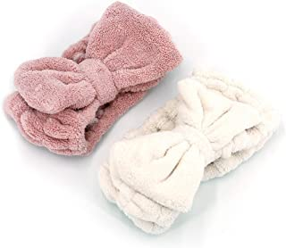 UTSLIVE 2 Packs Adjustable Elastic Hair Band Fleece Hairlace Headband Pink and White