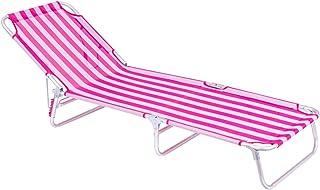 LOLAhome Tumbona Playa Cama de 3 pies de Aluminio y textileno (Rosa y Blanco)