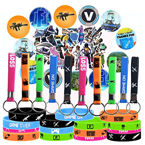 AnyMe Game Party Supplies, 67 Pack Gaming Gift Set Party Favors - 15 Pack Bracelet(Glow in The Dark), 12 Pack Button Pins, Set of 40 Stickers for Kids