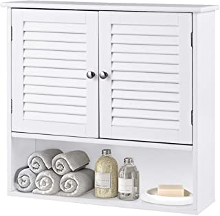 GOFLAME Bathroom Cabinet Wall Mounted, Wood Medicine Cabinet Storage Organizer with 2 Doors and 1 Shelf, Wall Cabinet with Adjustable Shelf, Simple and Modern Style (White)