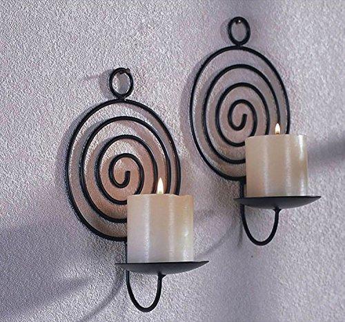 Dekorative Wandkerzenhalter für Stumpenkerzen 2er Set aus Metall für Stumpenkerzen rund schwarz