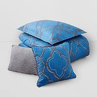 Raymond Waites Home & Design New York 5 Piece Tristan Bed Set, King, Blue