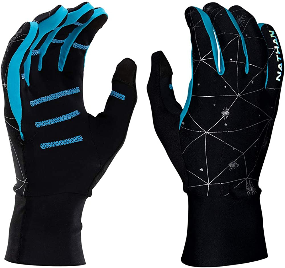 Nathan Reflective Gloves for Running. Warm Lightweight Stretch Material. with Pocket and TruTouch for Texting. Yellow/Black/Blue. Men and Women. (Galaxy Black/Blue, M/S 8.5