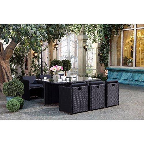 CONCEPT USINE - Salon De Jardin Miami 6 Personnes en Résine Tressée Noir Poly Rotin - 1 Table en Verre - 6 Fauteuils - Coussins Noir - Encastrable, Résistant, Imperméable