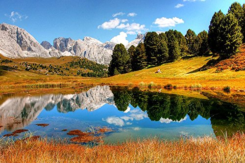 LAMINATED 36x24 Poster: Dolomites Mountains Italy South Tyrol View Alpine Val Gardena Hiking Nature Rubble Field Unesco World Heritage Clouds Panorama Rock Alpine Panorama Geisler Range
