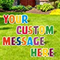 """Personalize Letter Yard Signs   Build Your Own Sign   Custom Outdoor Decorations   Birthday   Graduation   Wedding   Engagement   Anniversary   Baby   18"""" Letters with Stakes (Colorful)"""