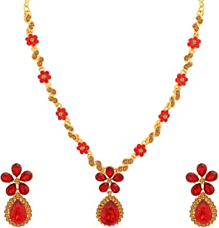Handmade Orange Pearl Color Bead Earrings Necklace Set Jewelry For Doll