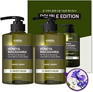 KUNDAL Natural Liquid Hand Soap, White Musk, 8.72 fl.oz/258ml(Pack of 2) Hand Wash with Aloe Vera & Green Tea in pump type