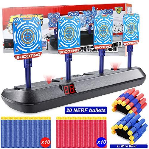 Vintoney Nerf Target, Elektrisches Zielscheibe für Nerf Guns Auto-Reset Shooting Target mit 20 Stück Nerf Bullets und 2 Hand Wrist Band Zielgerät Spielzeug für Kinder Geschenk Jungen und Mädchen