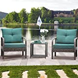 eclife New 3 Pieces Patio Set, Outdoor Wicker Patio Bistro Set, Patio Furniture Sets W/Coffee Table, Modern Bistro Set Rattan Chair Conversation Sets (Green)