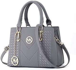 Redland Art Vioaplem Fashion Leather Look Medium Size Top Handle Bag Shoulder Corssbody Messenger Handbag for Women (Color : Grey)
