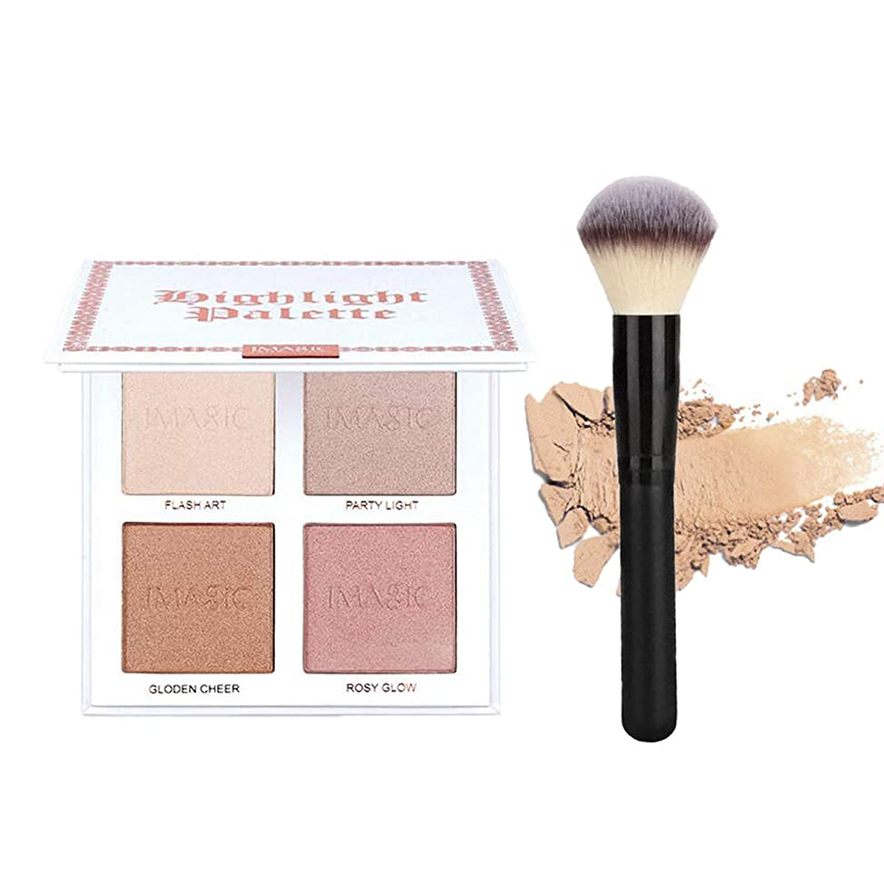 CCbeauty 4 Color Highlighter Makeup Palette with Powder Brush Shimmer Bronzers Contour Shadow Illuminating Powder Cosmetic Kit,Pearl