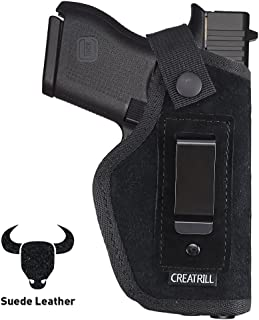 Creatrill Suede Leather Inside The Waistband Holster | Fits M&P Shield 9mm, .40, .45 Auto / GLOCK 26 27 29 30 33 42 43 / Ruger LC9 / Springfield XD, etc| Gun Concealed Carry IWB Holster