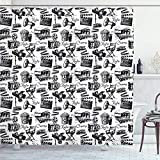 ChocoRa Movie Shower Curtain, Vintage Film Cinema Motion Camera Action Record Graphic Style Print, Cloth Fabric Bathroom Decor Set with Hooks, 66×72in, Black White