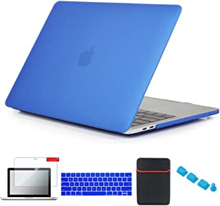 Se7enline 2016-2018 MacBook Pro Touch Bar Case 5 in 1 Bundle Soft-Touch Matte Plastic Hard Cover, Sleeve, Keyboard Cover, Screen Protector, Dust Plug for MacBook Pro 15 inch A1707/A1990, Deep Blue