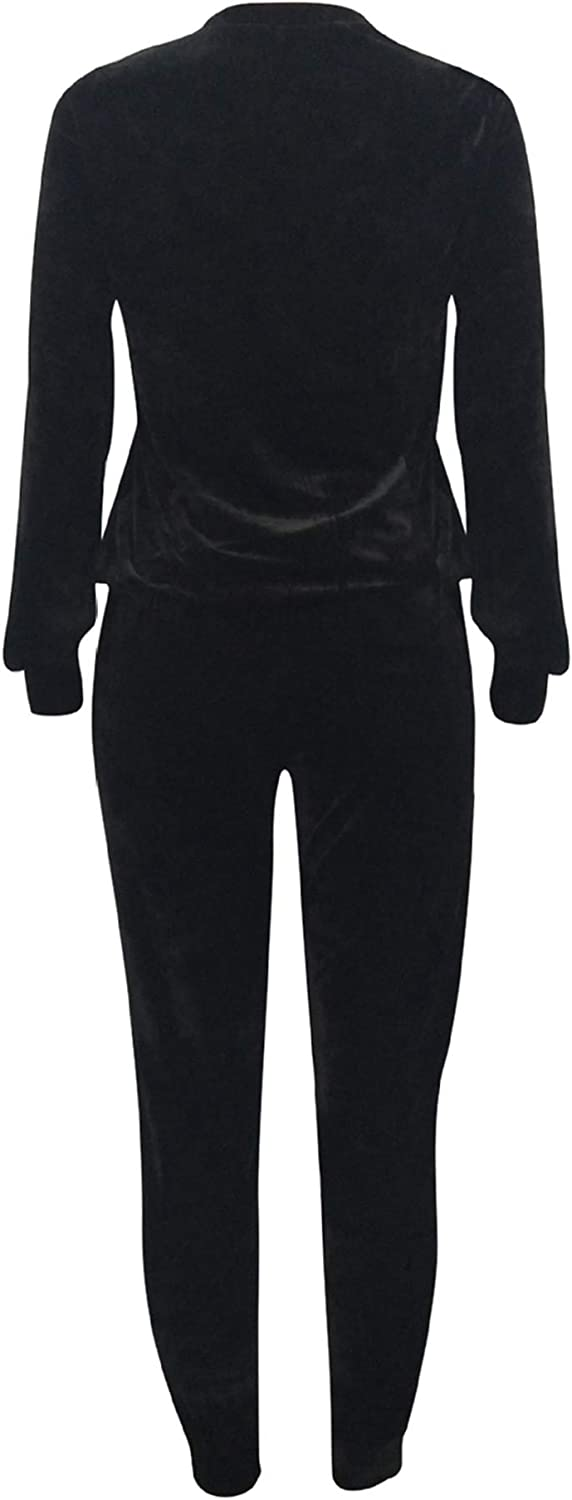 Women 2 Piece Tracksuit Outfits Sequin Splice Pullover Tops and Pants Sweatsuit Set Sportswear