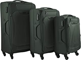 Travel luggage set with spinner wheels - softside trolley luggage bag with spinner case for travel 3 different sizes lugga...