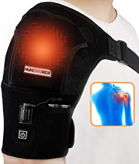 NUNEWARES Heated Shoulder Wrap Brace,3 Temperature Setting Infrared Pad Strap with 3000mAh Lipo Battery,Hot Cold Therapy f...