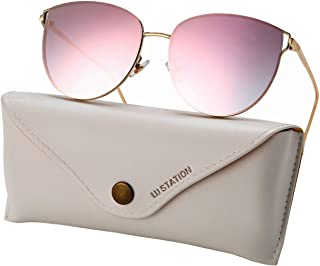 0a0a69179 Oversized Sunglasses for Women, Mirrored Cat Eye Sunglasses with Rimless  Design U225