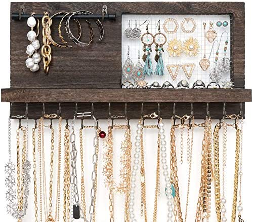 Mkono Rustic Wall Mounted Jewelry Organizer with Bracelet Rod and 30 Hooks Wood Hanging Jewellery product image