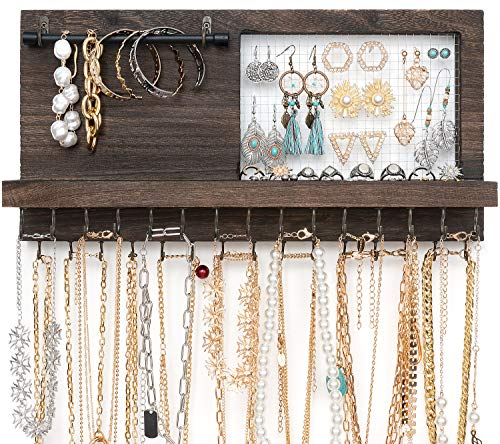 Mkono Rustic Wall Mounted Jewelry Organizer with Bracelet Rod and 30 Hooks Wood Hanging Jewellery Holder for Necklaces, Earrings, Bracelets, Rings, Display Shelf for Cabinet Girls Women, Brown