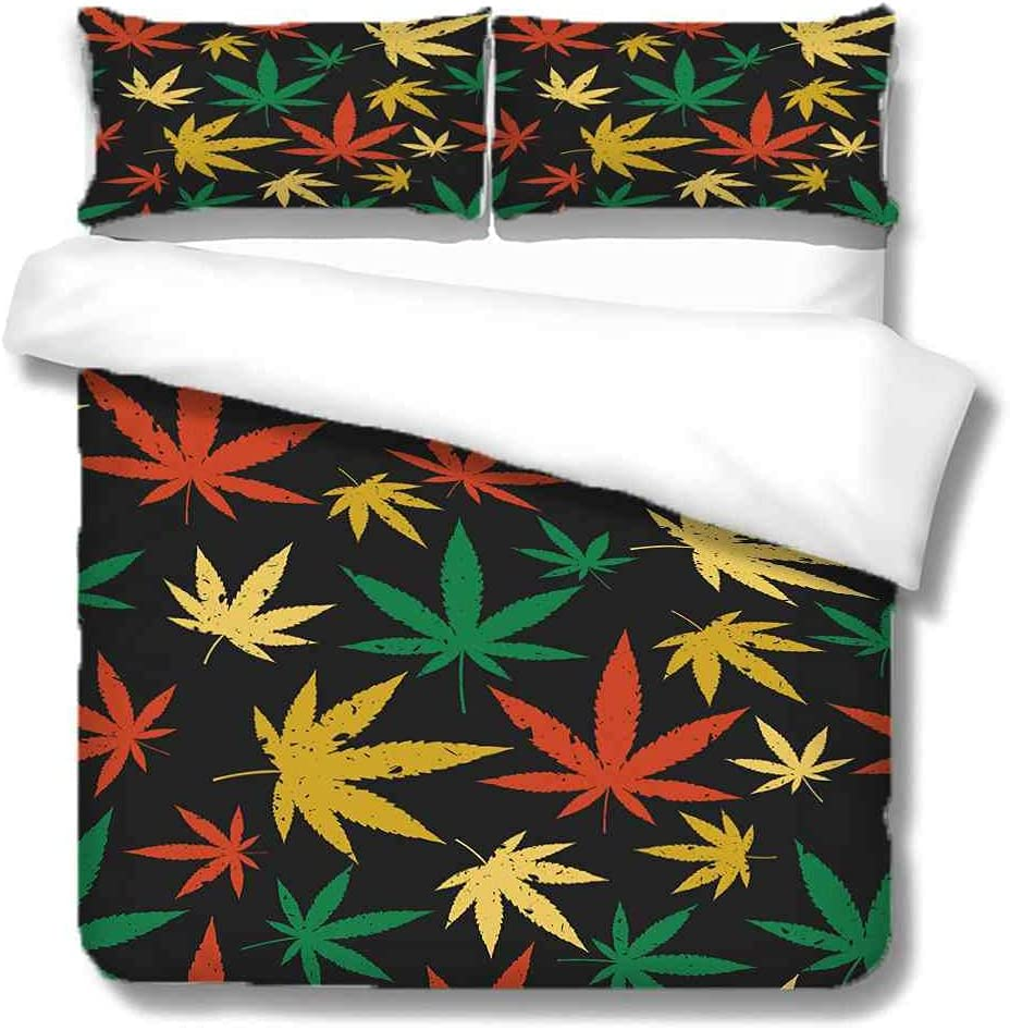 YJREDH Duvet Cover King Size 3 Piece Maple National products Leaf free shipping Duve Red Yellow
