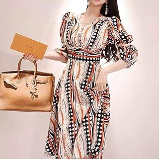 ABDKJAHSDK Summer Collection Of Waist-Printed Pointed Chiffon Maxi Dress