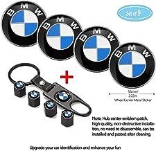 Fubai Auto Parts 4 Pack for BMW Wheel Center Caps Emblem-Black,56MM/2.22' Rim Hub Emblem Badge Sticker + 4 Pack KeychainValve Covers Fit +1Pack Keychain for BMW All Models (BMW)