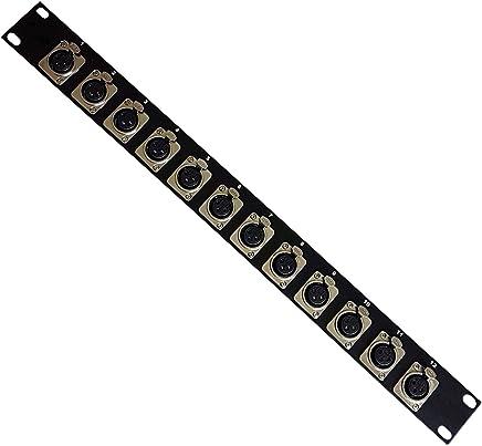 12Port/way 3pin XLR femmina patch panel | 1U Mount bar | microfono audio presa Chassis per armadio cavi fisso studio mixer installazione | d-type spine - Trova i prezzi più bassi
