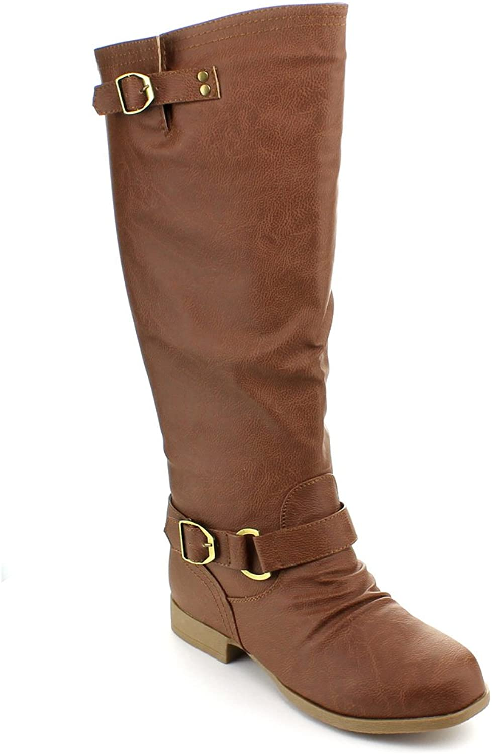 Top Moda Womens Land-7 Knee High Round Toe Riding Boots
