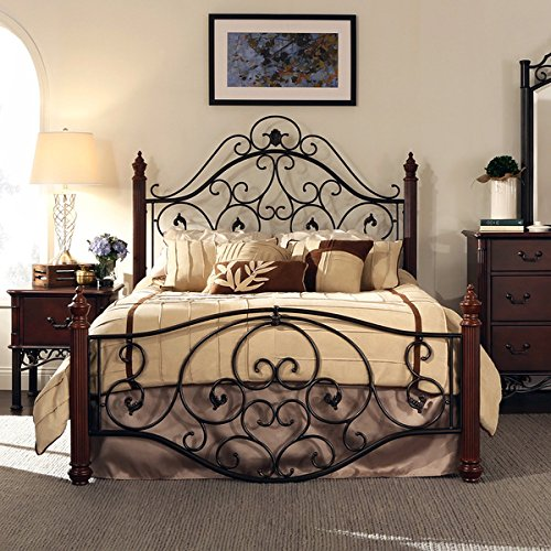 Queen Size Metal Wrought Iron Look Rustic Bed Frame