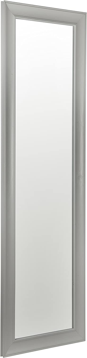 Reflex 133 x 41cm Grey Wood Framed Dressing Mirror Wall Hanging Fixings