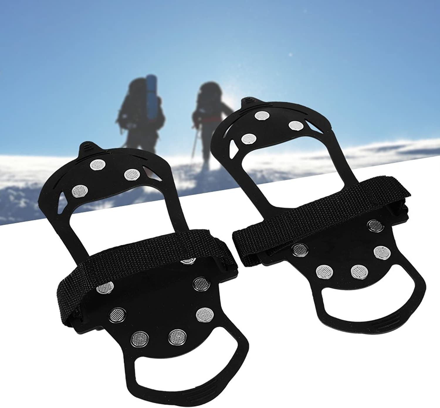 Ice Spikes,1 Pair Of Black 10teeth Traction Cleats Ice Snow Grips Crampons Anti Slip Gourd Shape Climbing Grips