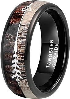 iTungsten 6mm 8mm Silver/Black/Rose Gold Tungsten Rings for Men Women Wedding Bands Koa Wood Deer Antler Arrow Inlay Domed...