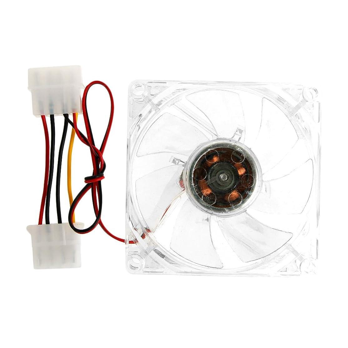 Rabortw クリア4-LEDブルーネオンライト80mm 12V 0.18A PCコンピューターケース冷却ファン8025