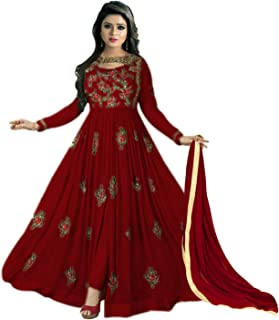 Colourfull Button Women's Faux Georgette Semi-Stitched Anarkali Salwar Suit 💌 ❤️ 🧡
