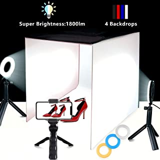 Travor Photo Light Box Portable 16''x16'' Photography Studio Box Shooting Tent Kit with 4 Color Backdrops, 6 Filters and Phone Holder for Photography Product