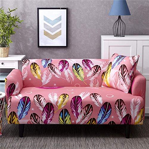 ZHBH Funda para sofá de tela elástica elástica de color rosa con plumas, fundas para sofá y sofá – Funda protectora de sofá con 1 funda de almohada