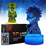 My Hero Academia 3D Illusion Anime Lamp - My Hero Academia Dabi Night Lights Toys LED Night Light for Kids Room Decor, 2 Patterns 16 Color Change with Remote Timer, Boys Girls Birthday Gifts