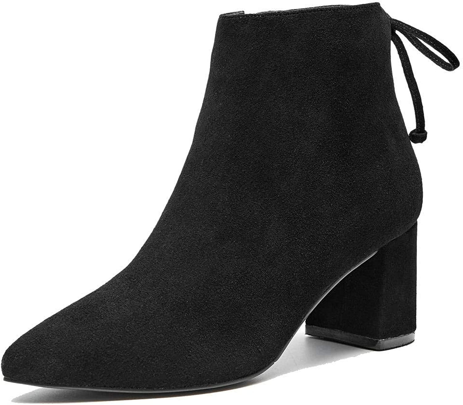 U-lite Womens Suede Pointed Toe Chukka Ankle Boots, Block Heel Autumn Winter shoes Bowknot Back