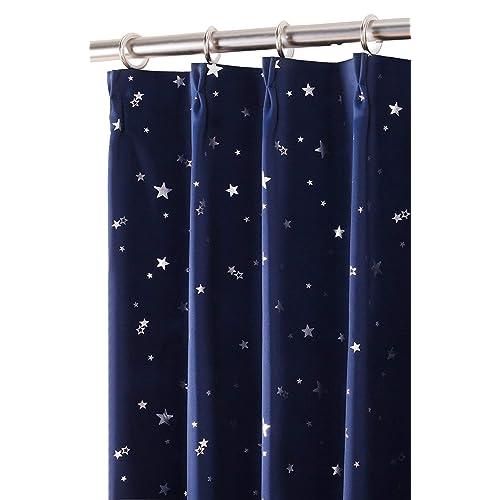 (コットンツリー) CottonTree 一級遮光 カーテン プラネット 2枚入 星柄カーテン アジャスターフック付き 形状記憶 ローヤルブルー 幅100cm丈135cm