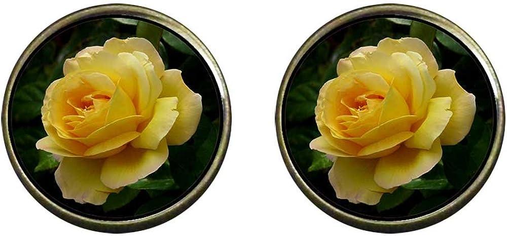 GiftJewelryShop Bronze Retro Style Yellow Rose Photo Clip On Earrings 14mm Diameter
