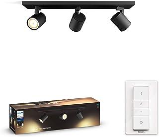 Philips Hue Runner Barrra de 3 Focos Inteligentes LED negros con Bluetooth, Luz Blanca de Cálida a Fría, Compatible con Alexa y Google Home
