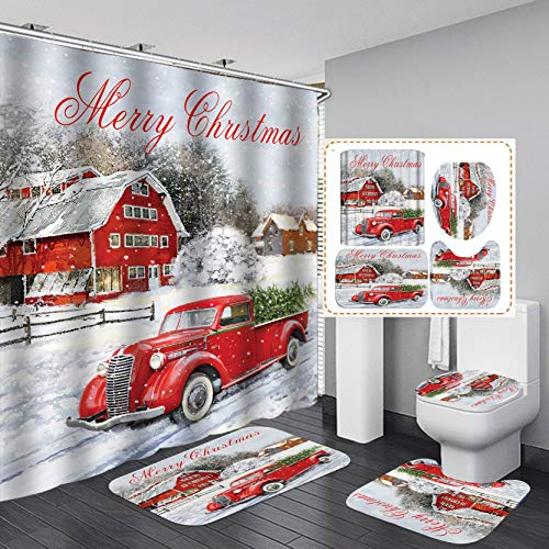 YanNanKe Christmas Shower Curtain Set,Christmas Car Carrying Christmas Tree in The Snow Pattern,Polyester Fabric Bathroom Decor Set with 12 Hooks,72x72inches