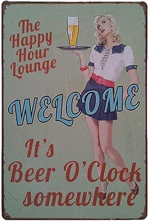 iHAZA 1pcs Ronde Poster M/étallique Affiche Peinture Art D/écoratif Vintage pour Bar Caf/é Pub Vintage Poster Mural r/étro Plaque en m/étal Bar Pub