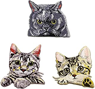 3 Pack Delicate Embroidered Patches, Cute Cats Embroidery Patches, Iron On Patches, Sew On Applique Patch, Custom Backpack Patches for Men, Women, Boys, Girls, Kids, Super Cute!